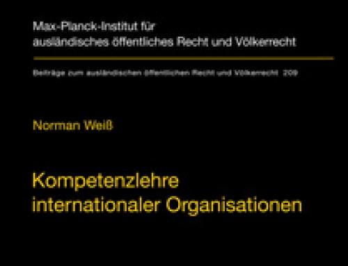 Kompetenzlehre Internationaler Organisationen / Norman Weiß